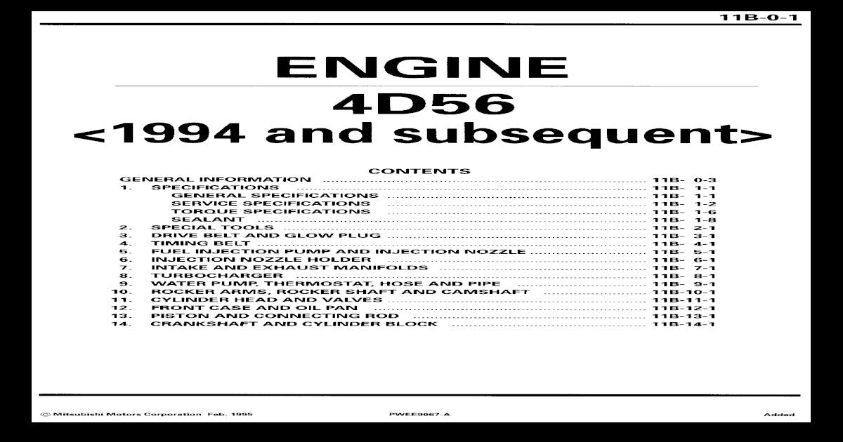 4d56 complete engine torque specs