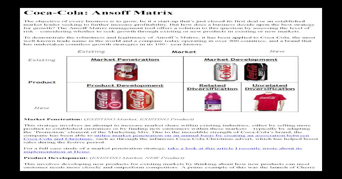 Tows matrix coca cola Homework Example
